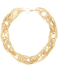 Oliver Bonas Elsi Geo Interlink Twist Rope Collar Necklace - Metallic