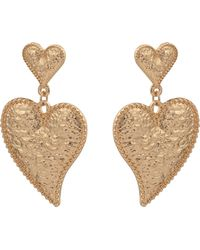 Oliver Bonas - Amour Textured Curved Hearts Drop Earrings - Lyst
