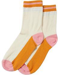 Oliver Bonas Color Block Orange Stripe Ankle Socks - White