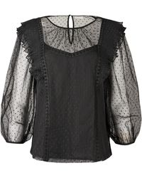 Oliver Bonas Frill & Lace Insert Sheer Blouse - Black