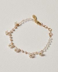 Oliver Bonas Veronica Faux Pearl Floral Cluster Chain Bracelet - White