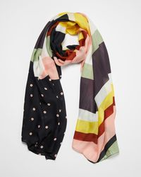 Oliver Bonas - Stripes And Dots Lightweight Scarf - Lyst