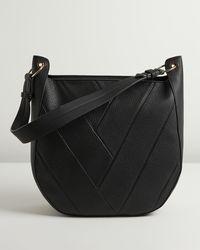 Oliver Bonas Kaylee Chevron Pattern Black Saddle Tote Bag