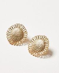Oliver Bonas Daisy Textured Flower Statement Stud Earrings - Metallic