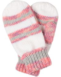 Oliver Bonas Chunky Striped White Knitted Mittens - Pink