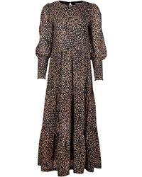 Oliver Bonas Spot Printed Mesh Tiered Midi Dress - Black