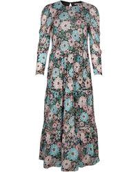 Oliver Bonas Floral Print Mesh Midi Dress - Black