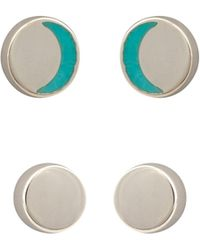 Oliver Bonas Lowell Silver Stud Earrings Pack Of Two - Blue