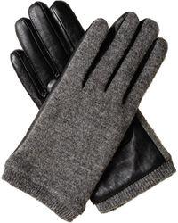 Oliver Bonas Gray Wool & Leather Gloves - Black