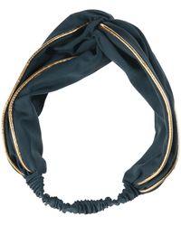 Oliver Bonas Eugenie Green & Gold Knotted Elastic Headband - Metallic