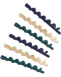 Oliver Bonas Squiggle Green Metal Hair Grips Pack Of Six - Multicolor