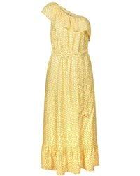 Oliver Bonas Tile Print Yellow One Shoulder Maxi Dress