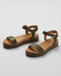 Oliver Bonas Strappy Green Leather Flatform Sandals - Multicolour