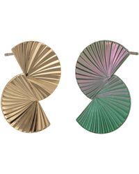 Oliver Bonas Rigby Mismatched Textured Curve Stud Earrings - Metallic