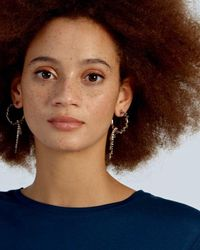 Oliver Bonas Beaded Charm Drop Hoop Earrings - Gray