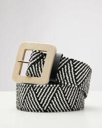 Oliver Bonas Wooden Buckle Black & White Woven Belt