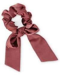 Oliver Bonas Oversized Red Bow Scrunchie Hair Elastic - Brown