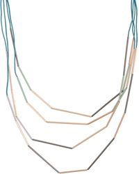 Oliver Bonas Donte Teal Green Tube Beaded Collar Necklace - Blue