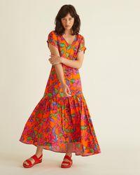 Oliver Bonas Bright Orange Floral V-neck Midi Dress