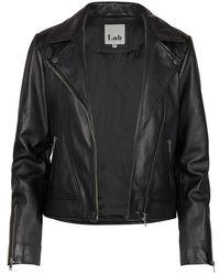 Oliver Bonas Lab London Leather Biker Jacket - Black