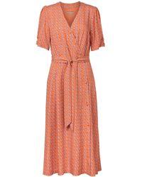 Oliver Bonas Foulard Print Orange Midi Dress