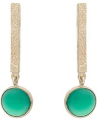 Oliver Bonas - Boheme Round Stone Gold Plated Drop Earrings - Lyst
