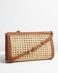 Oliver Bonas Brielle Rattan Wrap Brown Clutch Bag