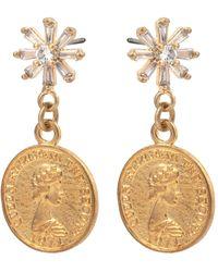 Oliver Bonas Elizabeth Gem Cluster & Coin Drop Earrings - Metallic