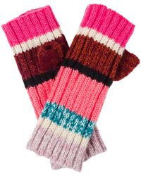 Oliver Bonas Striped Long Fingerless Knitted Gloves - Pink