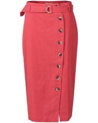 ab64b8bfb0 Oliver Bonas - Button Through Red Midi Skirt - Lyst