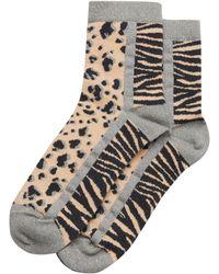 Oliver Bonas Animal Print Pink Ankle Socks