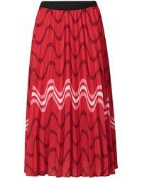 88a4dd21b3 Oliver Bonas - Red & Pink Striped Print Pleated Skirt - Lyst