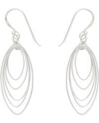 Oliver Bonas Silver Multi Drop Ovals Earrings - Metallic