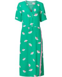 Oliver Bonas Blossom Green & White Wrap Midi Dress