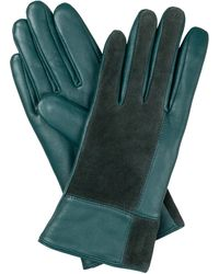 Oliver Bonas Square Green Suede & Leather Gloves