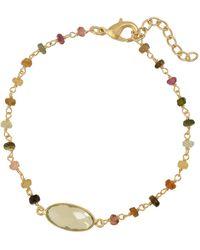 Oliver Bonas - Seraphine Beaded Chain Gold Plated Bracelet - Lyst