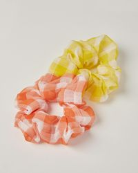 Oliver Bonas Gingham Scrunchie Hair Elastics Pack Of Two - Orange