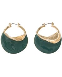 Oliver Bonas Roxana Organic Shape Coated Hoop Earrings - Green