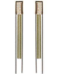 Oliver Bonas Gitana Stone Inlay & Chain Tassel Drop Earrings - Green