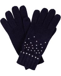 Oliver Bonas Star Studded Blue Knitted Gloves