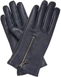 Oliver Bonas Zipped Navy Blue Leather Gloves