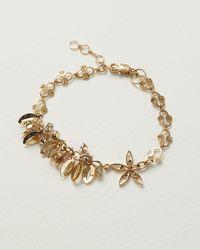 Oliver Bonas Aster Floral Cluster Chain Bracelet - Metallic