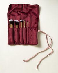 Oliver Bonas Star Embroidered Pink Makeup Brush Roll