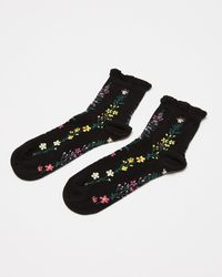 Oliver Bonas - Ditsy Floral Black Ankle Socks - Lyst