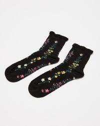 Oliver Bonas Ditsy Floral Black Ankle Socks
