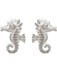 Oliver Bonas Stormy The Seahorse Silver Stud Earrings - Metallic