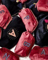 Oliver Bonas Sol Velvet Alphabet Make Up Bag - Pink