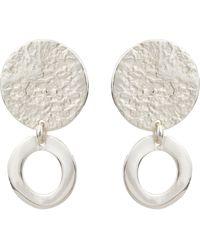 Oliver Bonas Anatola Textured Double Disc Drop Earrings - Metallic