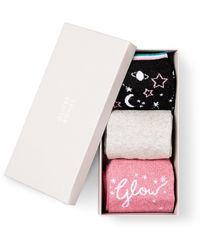 Oliver Bonas Glow Christmas Glitter Socks Pack Of Three - Black