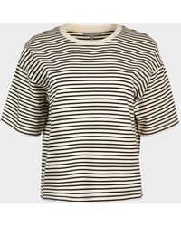 Oliver Bonas Striped & White Structured T-shirt - Black